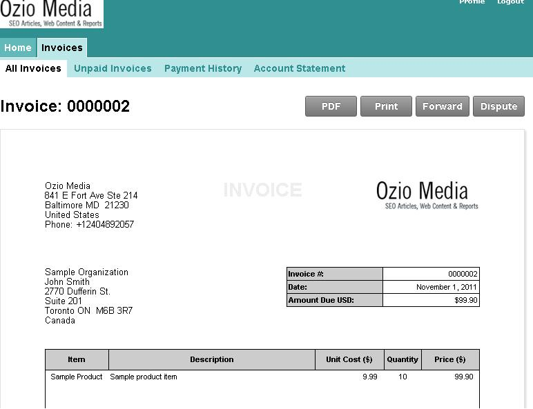 Ozio Media is now accepting credit cards via our new invoicing system.